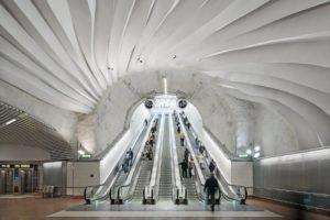 Metro w Sztokholmie- sufity akustyczne Rockfon